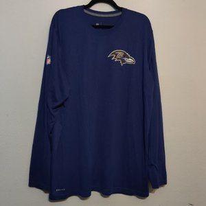NIKE Dri-Fit 2XL Long sleeve Baltimore Raven NFL